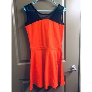 Orange and black party dress